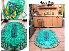 My hose rug I made from old hoses and a large bag of black zip ties - it feels like walking on Crocs! Great for standing while potting plants!