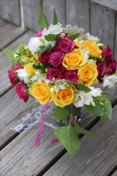 pink and gold roses by Dew Drop Flower Shoppe in Seville Ohio