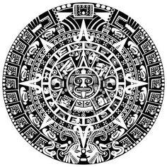 azteque: Calendrier maya sur fond blanc Illustration