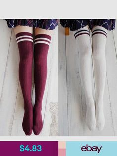 09121ba23c5c7 College Wind Women Fashion Hot Thigh High Socks Sexy Warm Cotton Over The Knee  Socks Striped Long Stockings For Girls Wholesale