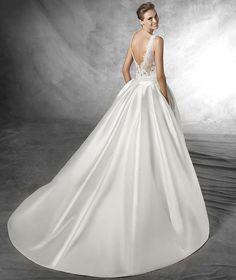 Trudy, with bateau neckline, tulle