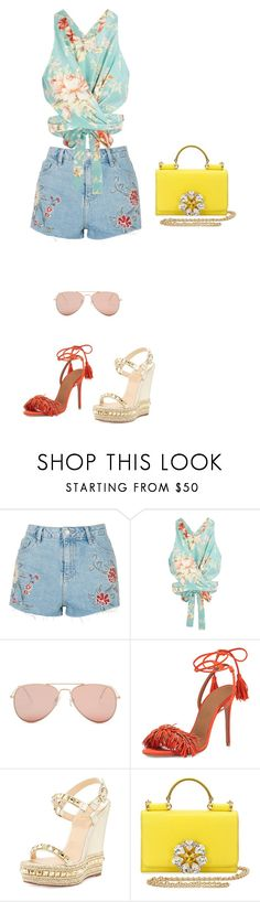 """Colorful brazilian carnival {couldn't choose the shoes on my own lol}"" by tammyalves ❤ liked on Polyvore featuring Topshop, Zimmermann, Betsey Johnson, Aquazzura, Christian Louboutin and Dolce&Gabbana"
