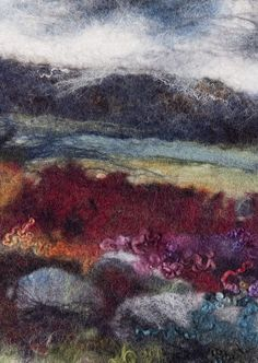 Felt picture by Andrea Hunter, inspired by Yorkshire scenery - beautiful colours Landscape Quilts, Abstract Landscape, Wet Felting Projects, Felt Wall Hanging, Felt Pictures, Thread Painting, Felt Hearts, Embroidery Art, Fabric Art