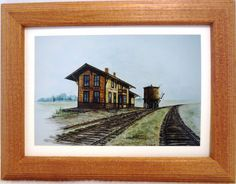 NEW OLD DEPOT CENTRAL CITY  IOWA PRINT BY IOWA ARTIST COLLEEN CARSON