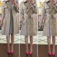 Nordstrom Anniversary #Nsale early access haul reviews, Kate Spade lottie pink pumps, Ralph Lauren Faux Leather Trim Trench Coat, Striped dress