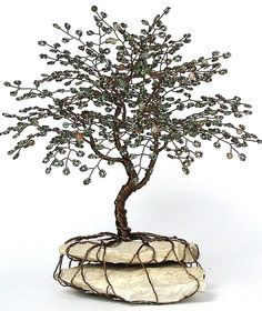 Life Tree Beaded Bonsai Wire Tree Sculpture by Creativecravings.deviantart.com on @deviantART