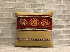 Boho Wool Yarn Kilim Throw Pillow   20x20 inches Embroidered Pillow   50x50 cm Floor Seating Euro Sham   Decorative Farmhouse Decor Pillow Boho Throw Pillows, Accent Pillows, Kilim Pillows, Handmade Pillows, Decorative Pillows, Floor Seating, Euro Shams, Geometric Pillow, Wool Yarn