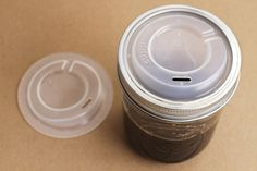Super simple travel mug / The Cuppow turns any wide-mouth canning jar into a travel mug. $7.99
