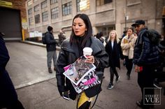 Back at it again... @streetvues | streetvue.co  #newyork #nyfw #FW17 #womenswear #fashion #womensfashion #womenstyle  #street #style #streetstyle #nofilter #leathercoat #oversizecoat #embroidery #blackandyellow #canon5dmkii #canon24mm14