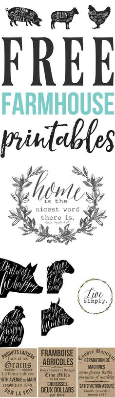 Free Farmhouse Printables For Your Home are so cute. An easy, inexpensive kitchen decor idea,