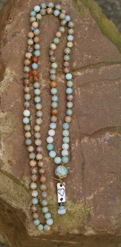 Rustic long knotted necklace earthy boho chic by Mollymoojewels