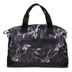 Black Marble Weekender Bag ($130) ❤ liked on Polyvore featuring bags and luggage