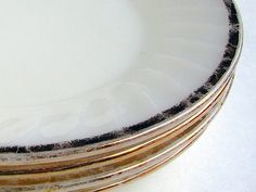 Vintage Dinner Plates White Fire King Gold SWIRL by bythewayside