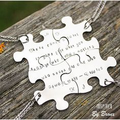 Puzzle Necklaces for 4 friends best friends by InspiredByBronx Bff Bracelets, Bff Necklaces, Best Friend Necklaces, Best Friend Jewelry, Friendship Necklaces, Friendship Gifts, Bff Gifts, Best Friend Gifts, Cute Gifts