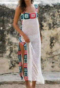 Bikini Crochet, Crochet Blouse, Knit Dress, Knit Crochet, Crochet Summer, Tunisian Crochet, Crochet Skirts, Crochet Clothes, Mode Crochet