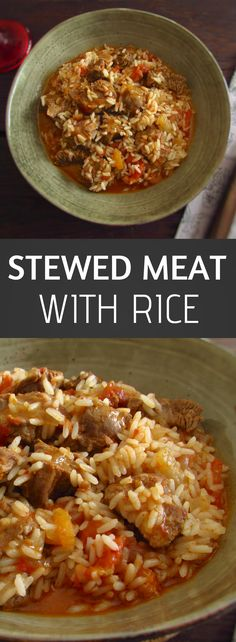 Stewed meat with rice   Food From Portugal. If you're going to prepare a dinner for your family, this is definitely a recipe that everyone will enjoy! The delicious tomato sauce and the seasonings mixed in the meat and the rice makes this recipe creamy and very tasty! #recipe #meat #rice