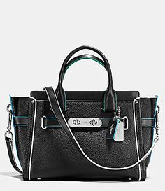 COACH SWAGGER 27 Carryall Satchel Edgestain Leather Purse Bag Black  Tricolor in Clothing 892efd633aa86