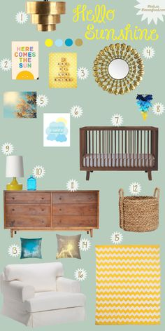 "Hello Sunshine Gender Neutral Nursery Board - love the combination of natural texture with yellow and green, without looking to ""ocka"""