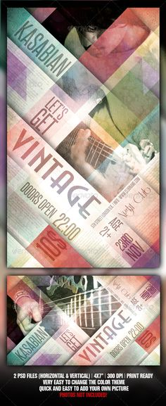 """Vintage Flyer Template / poster template is best used for a alternative / vintage / retro / rock / indie / hip-hop / grunge underground music event, but you can also use it for a night club event / party / concert / gig / festival and even as a magazine cover or ad. The PSD file is setup at 2175px x 1275px (7×4"""" with .25"""" bleeds) CMYK 300DPI – PRINT READY Very well organised file All objects included and editable Photos not included in download Fonts: Steelfish, Anastasia and Riesling"""