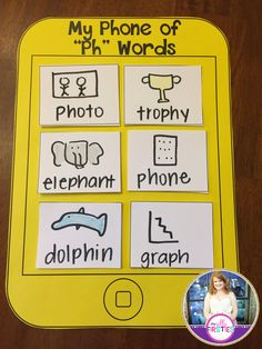 """""""My Phone of Ph Words."""" Students write words with """"ph"""" on their phones. Digraph craftivity."""