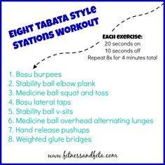 Eight Tabata Style Stations Workout Crossfit Classes, Group Fitness Classes, Tabata Workouts, Body Workouts, Lunges, Squats, Workout Stations, Stability Ball, Medicine Ball