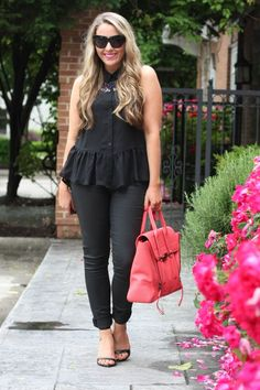 Add a bright pop of color to a stylish all black outfit…we love this look!