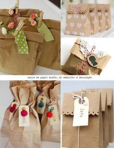 brown paper hamper bag with ta Present Wrapping, Creative Gift Wrapping, Creative Gifts, Eid Crafts, Diy And Crafts, Paper Crafts, Cookie Packaging, Gift Packaging, Kraft Bag