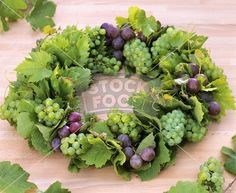 Wreath of grapes and leaves Fruit Decorations, Chair Backs, Sprouts, Succulents, Wreaths, Vegetables, Plants, Leaves, Google Search