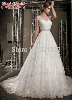 e8658bdfaf614aa Bridal Gown Wedding Dress 2015 Button Sleeveless Lace V neck Brush Train  Floor Length Natural Wedding Gowns A Sash A Line AC53-in Wedding Dresses  from ...