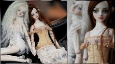 Young girls with alabaster skin holding hands. Lovers? Friends? Enchanted Doll pair. Porcelain ball jointed art dolls by Marina Bychkova. Photography: Lightpainted Doll - Ilona Lightpainted Doll