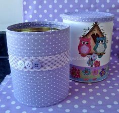 Fika la Dika - per un mundo Mejor: Latas Decoradas Ideas Mais Coffee Can Crafts, Tin Can Crafts, Diy And Crafts, Crafts For Kids, Pot A Crayon, Recycle Cans, Aluminum Cans, Altered Tins, Creation Deco