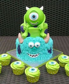 Monster Inc Party Torte - Torten Kindergeburtstag - Monster Inc Party, Monster Inc Cakes, Monster Inc Birthday, Monster University Birthday, Crazy Cakes, Fancy Cakes, Cute Cakes, Disney Themed Cakes, Disney Cakes