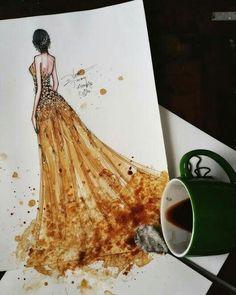 Dessin de mode avec café ☕️ #drawing with coffee ☕️