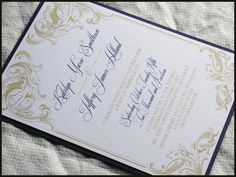 Royal Victorian Scroll Wedding Invitation Set by RunkPock Designs : Modern Script Calligraphy Swirl Design shown in Purple and Gold on Etsy, $2.00