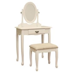 This vanity table set features contemporary colonial styling that makes it undeniably enchanting. The visual appeal of this dressing table with its cabriole legs and a scalloped apron is considerable, along with the carved detail of the Heirlooms.