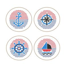 Instant Download set of 4 Cross Stitch Patterns anchor nautical wheel yacht compass red blue gift