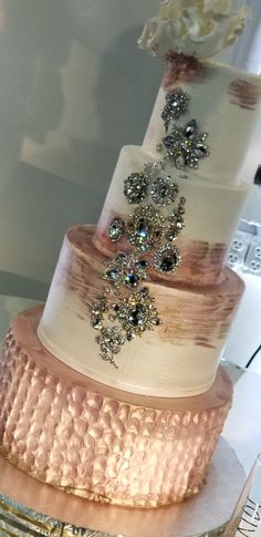 Elegant Rose Gold wedding cakes with bling - DEFINITELY MY KIND OF CAKE!! - LOVE THE GLORIOUS BLING!! ;)