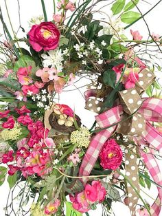 Spring Wreath for Front Door, Pink Colored Wreath, Front Door Wreath, Gift for Her, Farm House Home Decor This beautiful spring / summer wreath which is made on one of our exclusive wild birch bases, will look so sweet hanging on your front door. The airy sticks which radiate out are