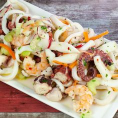 Seafood Dishes, Seafood Recipes, Easy Carbonara Recipe, New Years Dinner, Xmas Food, Antipasto, Finger Foods, Pasta Salad, Food And Drink