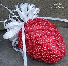 Pierced Ribbon Pinecone Ornament - Red w/White Polka Dot Satin