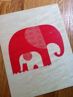 Birch Print Red Elephant by tarahogan on Etsy