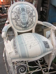 Pretty French-inspired chair at SWeeT SaLVaGE... Perfect for my bedroom!