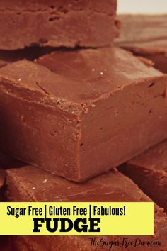 This homemade FUDGE is FABULoUS! And the recipe for this yummy dessert is also sugar free! This homemade FUDGE is FABULoUS! And the recipe for this yummy dessert is also sugar free! Diabetic Desserts, Diabetic Recipes, Low Carb Recipes, Delicious Desserts, Diabetic Foods, Gluten Free Recipes For Diabetics, Diabetic Cookies, Cooking Recipes, Bariatric Recipes