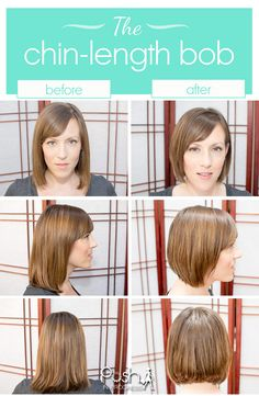 Chin-length bob haircut before and after. Short hair trend spring 2014. Short hairstyles for women. Chin length haircuts.  #shorthair #haircut #bob