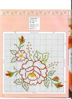 Flor Cross Stitch Rose, Cross Stitch Borders, Cross Stitch Flowers, Cross Stitch Designs, Cross Stitching, Cross Stitch Patterns, Hand Embroidery Stitches, Embroidery Designs, Broderie Simple