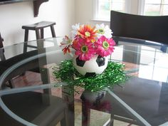 soccer ball with flower centerpiece