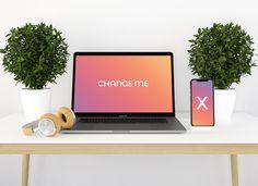 Free Premium iPhone X and Macbook Pro Mockup PSD