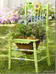 Painted chairs flower pots