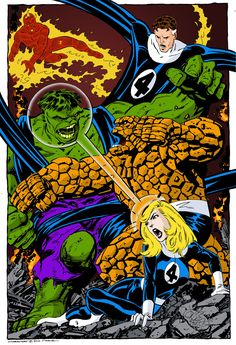 Fan coloring over John Byrne pencils & inks. Fantastic Four Vs Hulk commission & Dr. Doom Vs The Justice League commission. Colors by Larry Cathey. Visit his Tumblr here. Want to show off your inking...