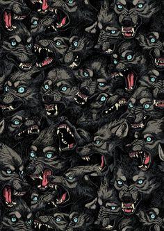 Wolf Pack Pattern Art Print by freeminds Dark Fantasy, Fantasy Art, Wolf Hybrid, Angry Wolf, Les Fables, Werewolf Art, Arte Horror, Cool Wallpaper, Screen Wallpaper